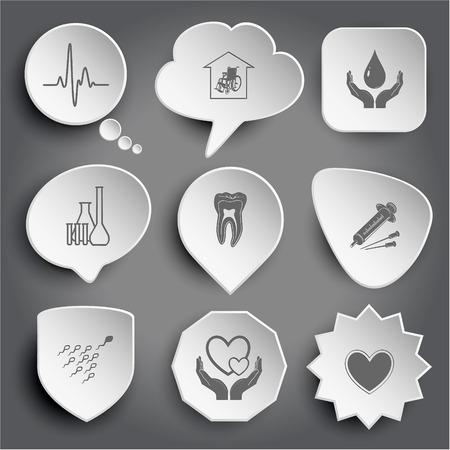 seniorenheim: Kardiogramm, Pflegeheim, Schutz Blut, chemische Reagenzgl�ser, Zahn, Spritze, Spermium, Liebe in den H�nden, Herz. Wei�-Vektor-Tasten auf grau.