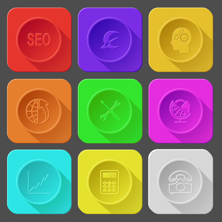 lock up: seo, monetary sign, human brain, globe and array up, screwdriver and spanner, globe and lock, diagram, calculator, rotary phone. Color set vector icons.