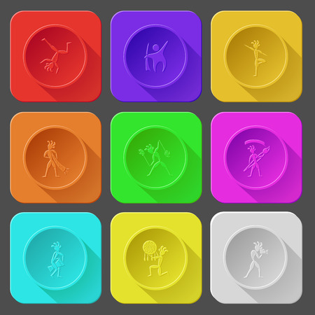 yogi: dancing ethnic little man, abstract little man as yogi, with trumpet, with fire poi, with brush, with drum, as shaman, with camera.. Color set vector icons. Illustration
