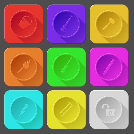 spirit level: bucket, caliper, mallet, trowel, screwdriver, spirit level, knife, hacksaw, opened lock. Color set vector icons.
