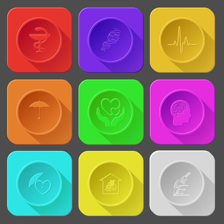 seniorenheim: Pharma-Symbol, dna, Kardiogramm, Regenschirm, Liebe in H�nden, menschliche Gehirn, Schutz Liebe, Pflegeheim, Labor-Mikroskop. Farbe gesetzt Vektor-Icons. Illustration