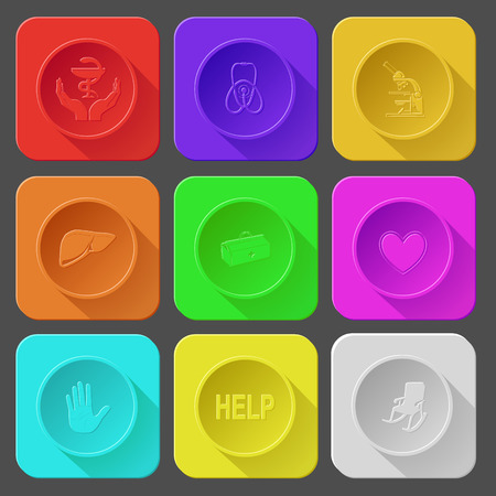 pharma: pharma symbol in hands, stethoscope, lab microscope, liver, medical suitcase, heart, stop hand, help, armchair. Color set vector icons.