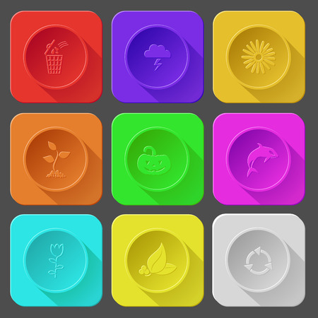 bin, thunderstorm, camomile, sprout, pumpkin, killer whale, tulip, leaf with berries, recycle symbol. Color set vector icons. Vector