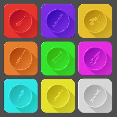 awl: spade, chisel, wheelbarrow, screwdriver, hacksaw, pliers, awl, pencil, spanner. Color set vector icons.