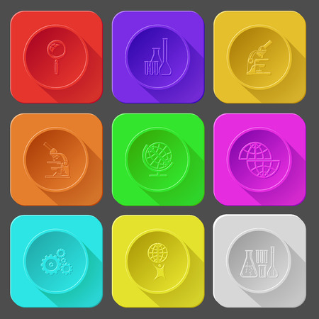 magnifying glass, chemical test tubes, lab microscope, shift globe, gears, little man with globe. Color set vector icons. Vector