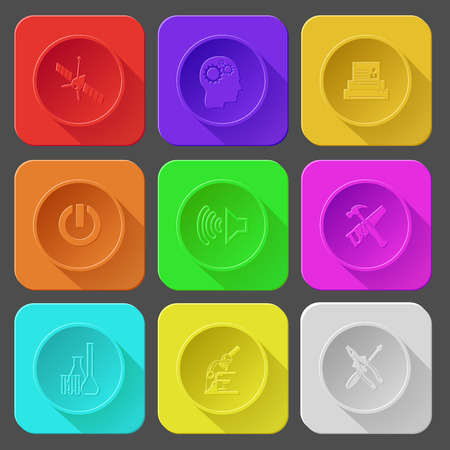 spaceship, human brain, printer, switch element, loudspeaker, hand saw and hammer, chemical test tubes, lab microscope, screwdriver and combination pliers. Color set vector icons. Vector