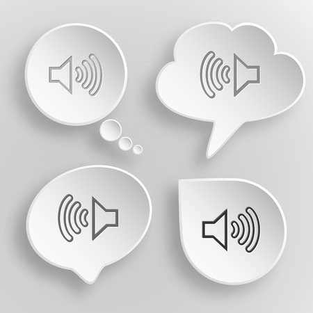 prompt: Loudspeaker. White flat vector buttons on gray background.