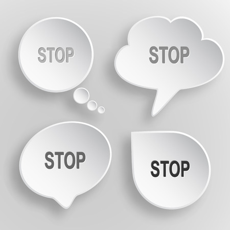 inhibit: Stop. White flat vector buttons on gray background.