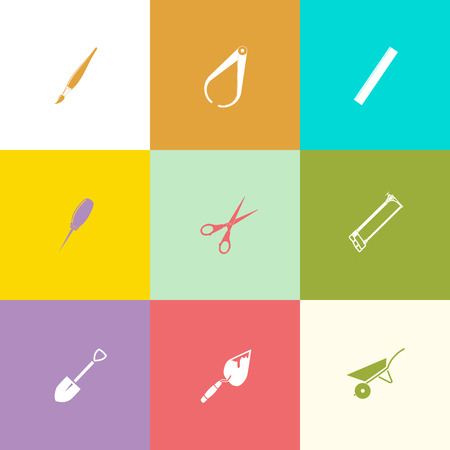 Angularly set. Flat color vector icons.