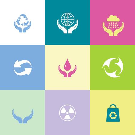 poison arrow: Ecology set. Flat color vector icons. Illustration