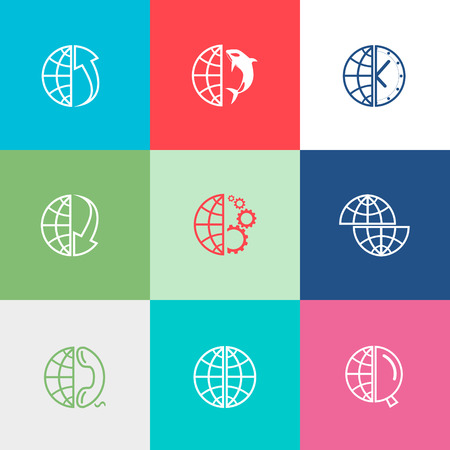 Globe set. Flat color vector icons. Vector
