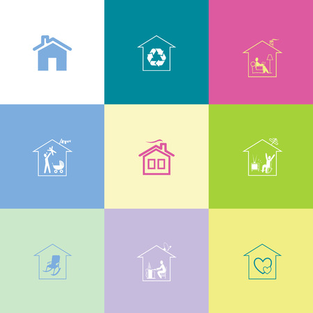 flue: Home set. Flat color vector icons.