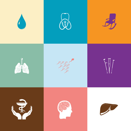 spermatozoid: Medical set. Flat color vector icons.