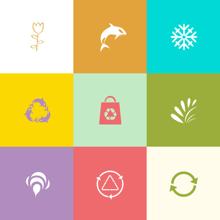 Nature set. Flat color vector icons. Vector