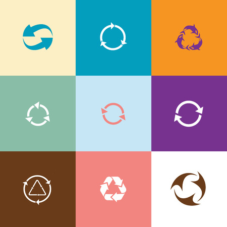 abstract recycle arrows: Recycle symbols set. Flat color vector icons.