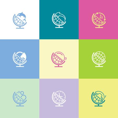 School globe set. Flat color vector icons. Vector