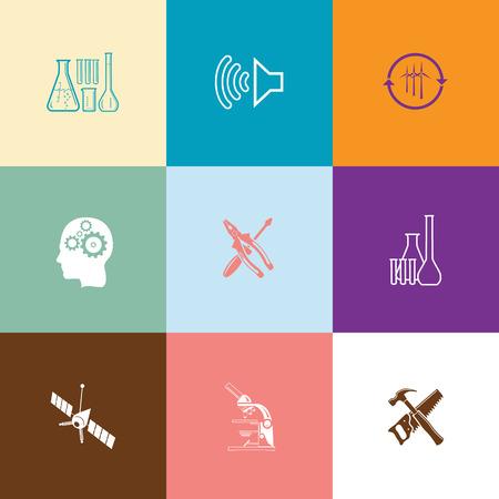 tehnology: Tehnology set. Flat color vector icons. Illustration