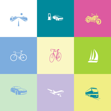 Transport set. Flat color vector icons. Vector