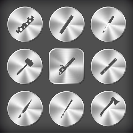 spirit level: Angularly set. Vector round and square steel buttons. Illustration