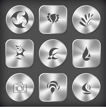 Abstract set. Vector round and square steel buttons. Vector