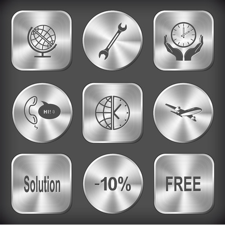 Business set. Vector round and square steel buttons. Vector