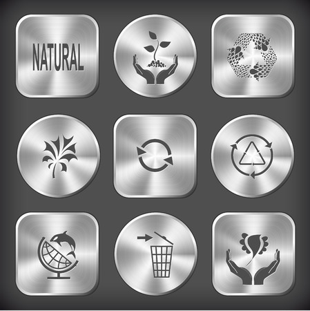 Ecology set. Vector round and square steel buttons. Vector