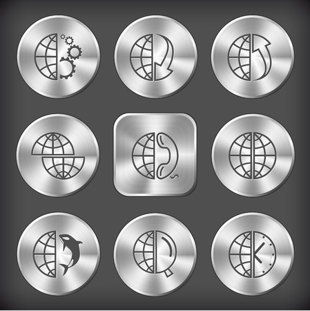 Globe set. Vector round and square steel buttons. Vector