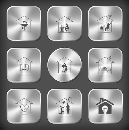 Home set. Vector round and square steel buttons. Vector
