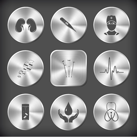 Medical set. Vector round and square steel buttons. Vector
