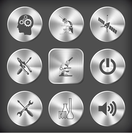 tehnology: Tehnology set. Vector round and square steel buttons.