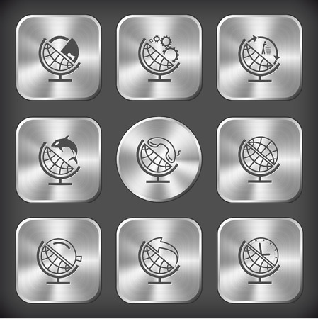School globe set. Vector round and square steel buttons. Vector