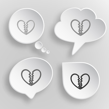 unrequited love: El amor no correspondido. Blanco botones del vector planas sobre fondo gris.