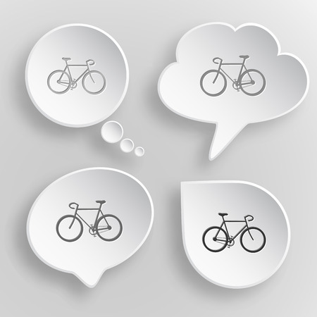 Bicycle White flat buttons on gray background. Vector