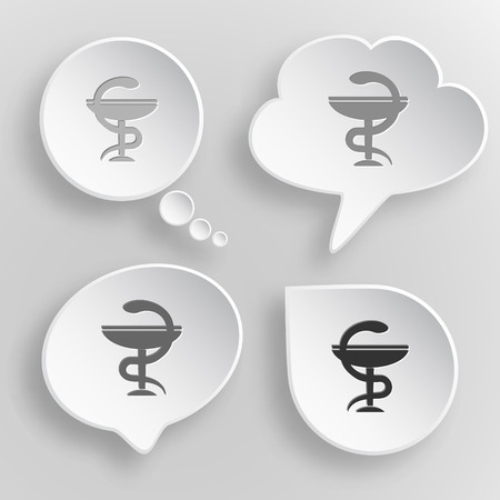 pharma: Pharma symbol. White flat vector buttons on gray background. Illustration