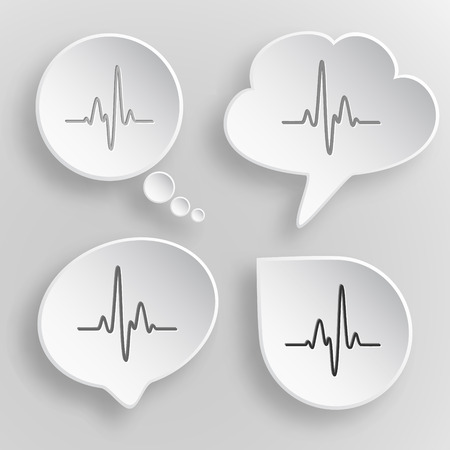 Cardiogram. White flat vector buttons on gray background. Illustration