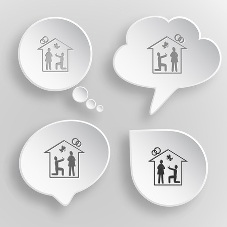 betrothal: Home affiance. White flat vector buttons on gray background.