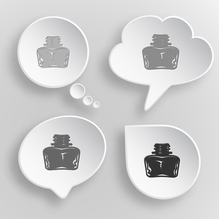 inkstand: Inkstand. White flat vector buttons on gray background.
