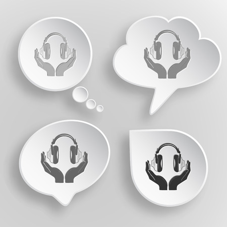 hearing protection: headphones in hands. White flat vector buttons on gray background.