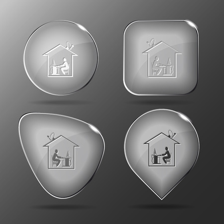 work from home: Home work. Glass buttons. Vector illustration. Illustration