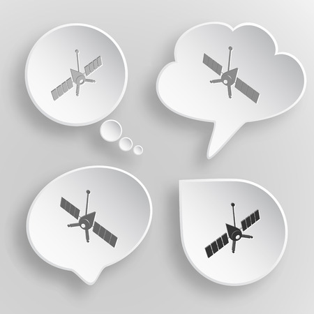 artificial satellite: Spaceship. White flat vector buttons on gray background.