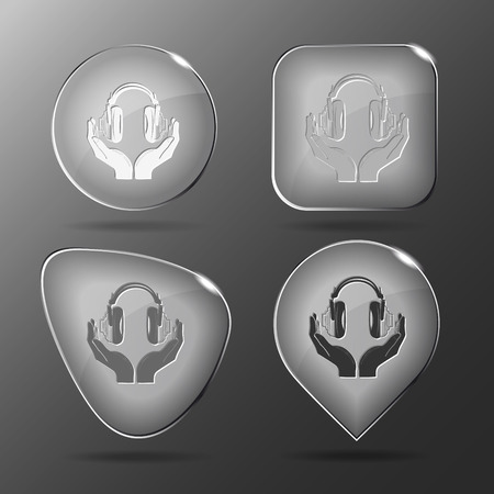 hearing protection: headphones in hands on Glass buttons illustration. Illustration