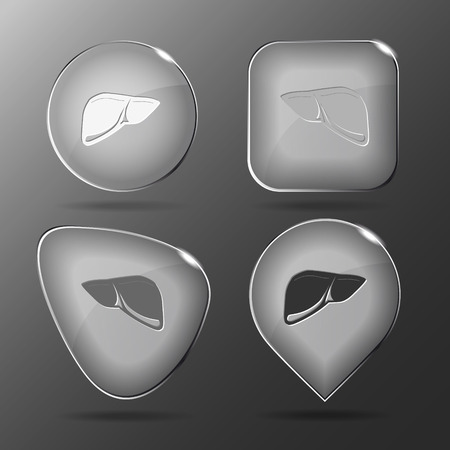 Liver in Glass buttons illustration. Vector
