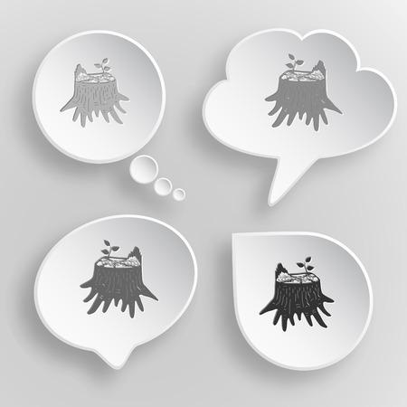 stub: Stub. White flat vector buttons on gray background. Illustration