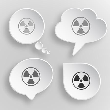 radiation symbol: Radiation symbol. White flat vector buttons on gray background.