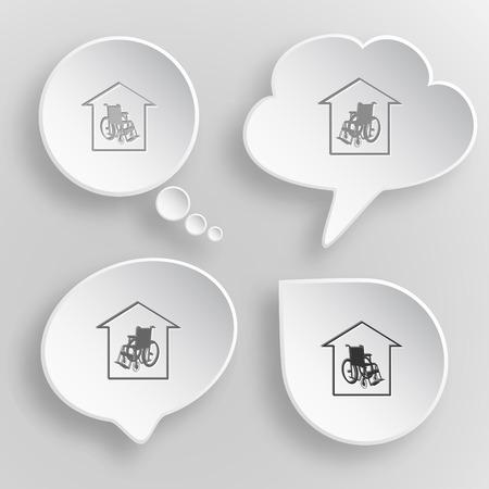 seniorenheim: Pflegeheim. White flach Vektor-Tasten auf grauem Hintergrund.