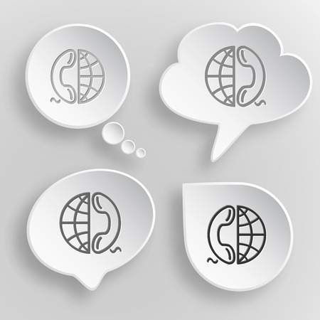 combining: Globe and phone. White flat vector buttons on gray background.