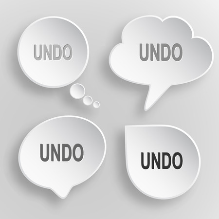 Undo. White flat vector buttons on gray background.