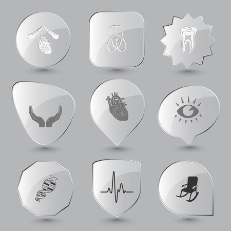 Medical set. Vector glass buttons. Vector