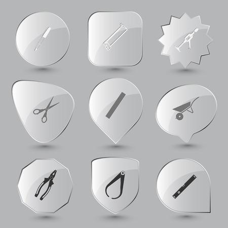 spirit level: Angularly set. Vector glass buttons.
