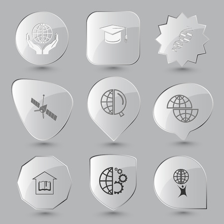 Science set. Vector glass buttons. Vector